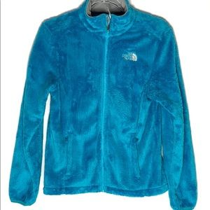 The North Face Osito blue fuzzy zip up jacket